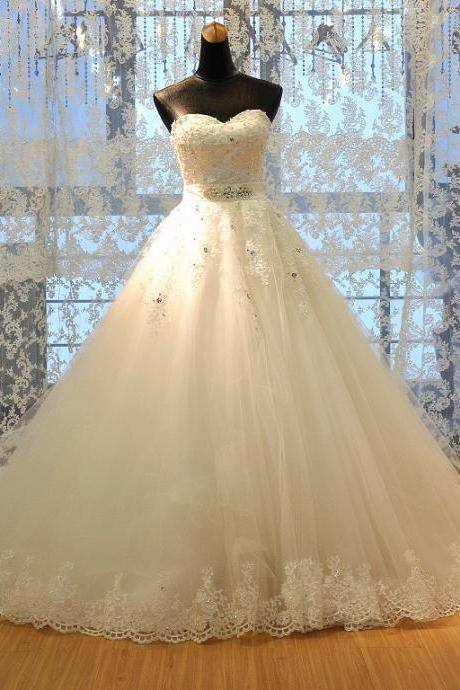 Real Photos A Line Bridal Wedding Dress with Sash