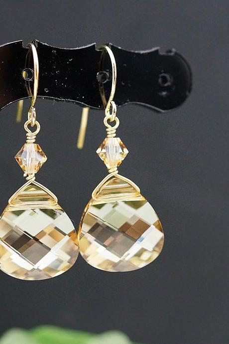 Wedding Jewelry Bridal Earrings Bridesmaid Earrings Golden Shadow Swarovski Briolette GOLD FILLED Earrings