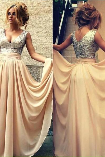 Champagne Long Prom Dress, Chiffon Prom Dress, Prom Dresses 2016, Sequin Prom Dresses, Bridesmaid Dresses