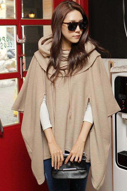 Fashion Loose Unicolor Hooded Shawl Sweater For Woman