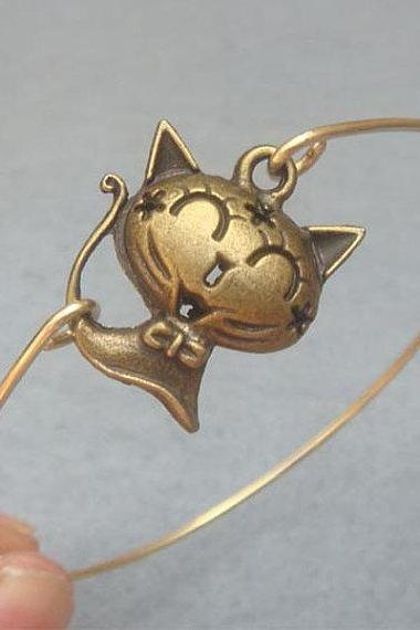 Brass Cat Bangle Bracelet