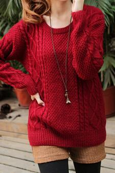 Hot sale Sweet Round Neck Knit Sweater