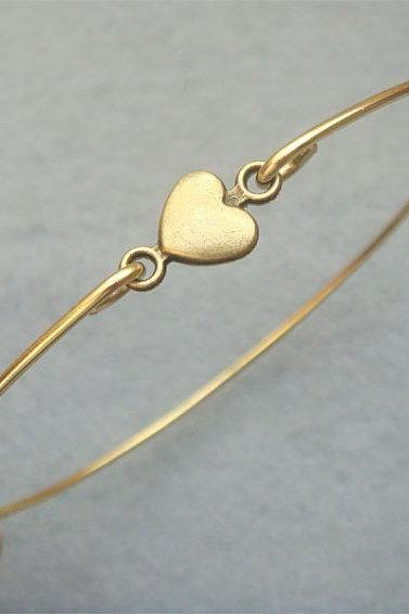 Brass Heart Bangle Bracelet Style 4