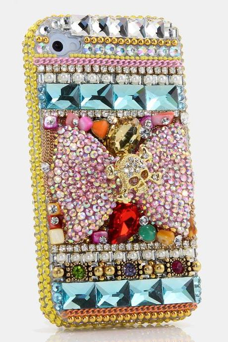 Bling Crystals Phone Case for iPhone 6 / 6s, iPhone 6 / 6s PLUS, iPhone 4, 5, 5S, 5C, Samsung Note 2, Note 3, Note 4, Galaxy S3, S4, S5, S6, S6 Edge, HTC ONE M9 (GOLDEN SKULL ON AB CRYSTALS BOW DESIGN) By LuxAddiction