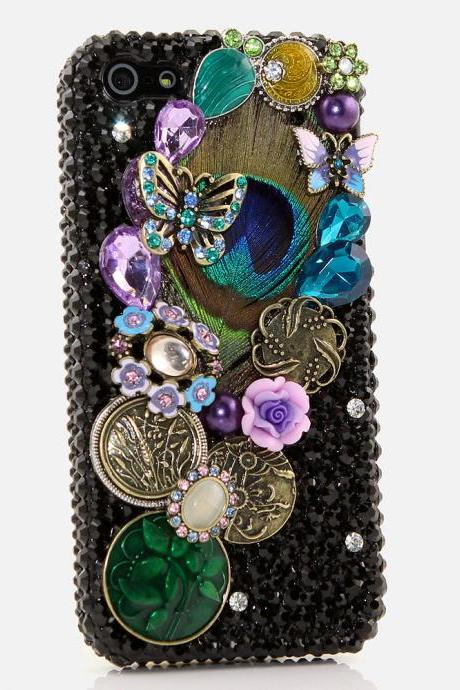 Bling Crystals Phone Case for iPhone 6 / 6s, iPhone 6 / 6s PLUS, iPhone 4, 5, 5S, 5C, Samsung Note 2, Note 3, Note 4, Galaxy S3, S4, S5, S6, S6 Edge, HTC ONE M9 (PEACOCK FEATHER DESIGN) By LuxAddiction
