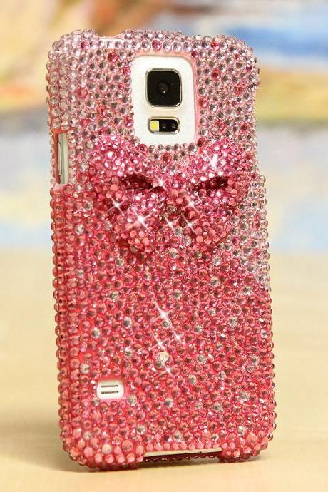 Bling Crystals Phone Case for iPhone 6 / 6s, iPhone 6 / 6s PLUS, iPhone 4, 5, 5S, 5C, Samsung Note 2, Note 3, Note 4, Galaxy S3, S4, S5, S6, S6 Edge, HTC ONE M9 (3D PINK BOW DESIGN) By LuxAddiction