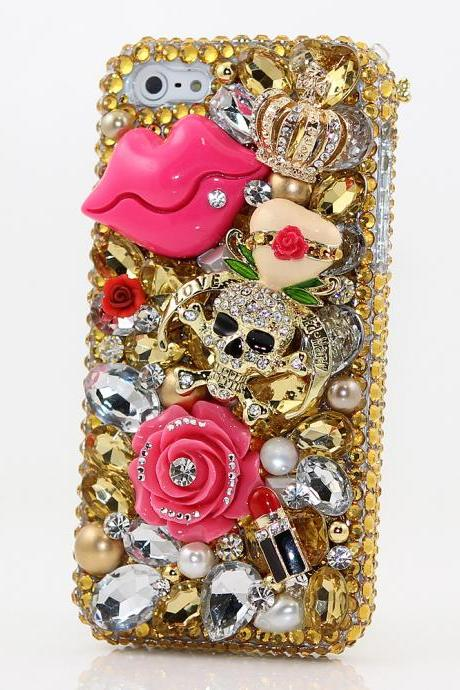 Bling Crystals Phone Case for iPhone 6 / 6s, iPhone 6 / 6s PLUS, iPhone 4, 5, 5S, 5C, Samsung Note 2, Note 3, Note 4, Galaxy S3, S4, S5, S6, S6 Edge, HTC ONE M9 (GOLDEN KISSES DESIGN) By LuxAddiction