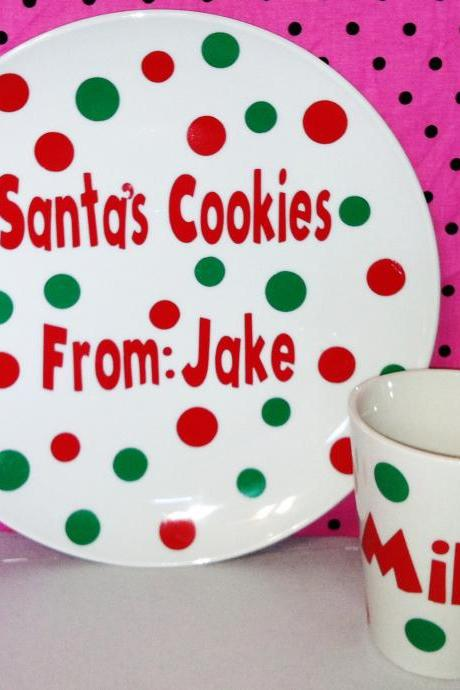 Personalized cookies & milk for Santa set