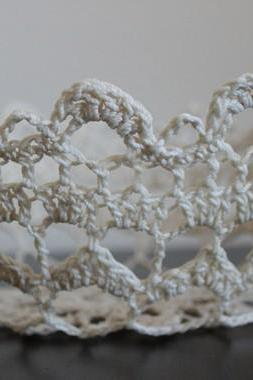 Flower Girl Basket Lace Bowl Crochet Doily Ivory Cream