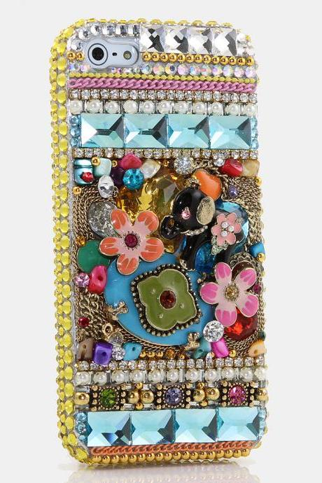 Bling Crystals Phone Case for iPhone 6 / 6s, iPhone 6 / 6s PLUS, iPhone 4, 5, 5S, 5C, Samsung Note 2, Note 3, Note 4, Galaxy S3, S4, S5, S6, S6 Edge, HTC ONE M9 (POSITIVELY PERKY ELEPHANT DESIGN) By LuxAddiction