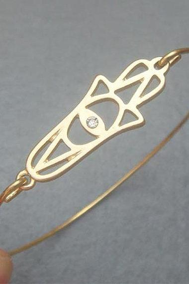 Hamsa Hand Bangle Bracelet Style 5