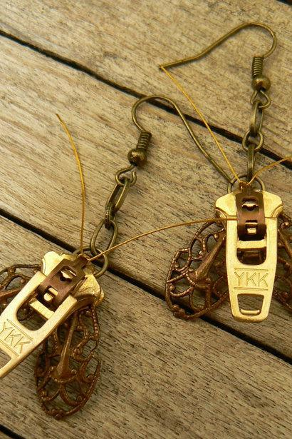 Steampunk Earrings - Zipper Earrings