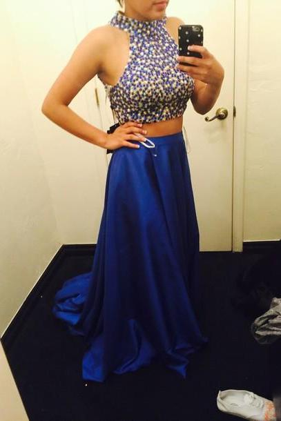 Hot Sale Two Pieces New Style Long Prom Dresses,Charming Formal Dresses 2015,Beading Evening Dresses,Sexy Party Dress,Bright Royal Blue Evening Gowns 2015