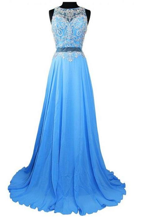 Fashionable Sexy Long chiffon Prom Dresses Beaded Crystals Evening gowns,Wedding Party Dresses,2015 Cheap Celebrity Dresses