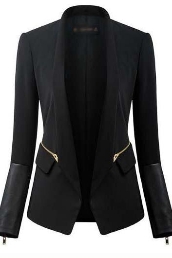 New Turndown Collar Long Sleeve PU Patchwork Black Blazer
