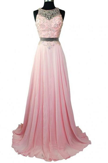 Elegant Pink Long chiffon Prom Dresses 2015 Newest Jewel See through Back Beaded Crsyatsl Evening Party Dresses Celebrity Dresses
