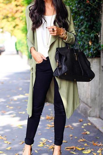 Fashion Pocket Design Turndown Collar Trench Coat - Army Green