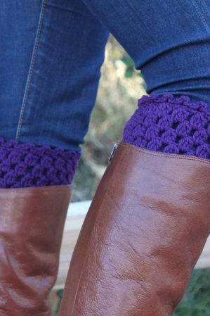 Crochet Boot Cuffs Leg Warmers Boot Socks Plum Purple