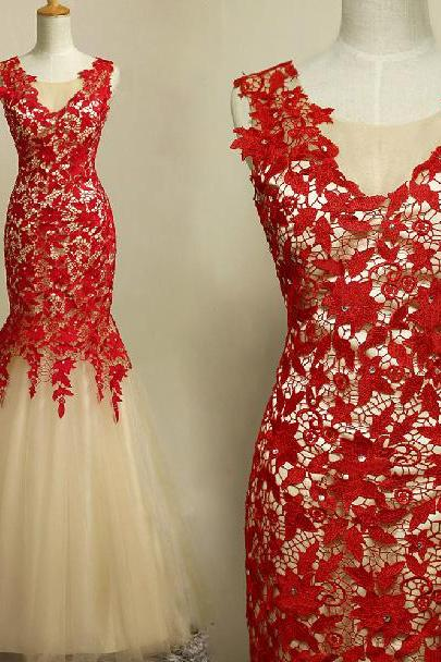 Hot Sale Red Lace Long Prom Dresses Sexy Mermaid Evening Dresses 2015 Sleeveless Floor Length Formal Dresses