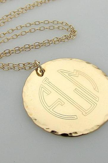 Initial Monogram Pendant - Engraved Gold Monogram Necklace - Personalized Necklace - Gold initial necklaces - 3 Letters Pendant