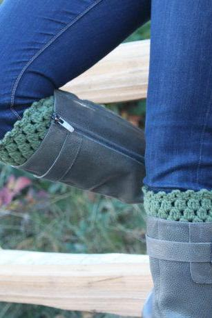 Crochet Boot Cuffs Leg Warmers Boot Socks Sage Green