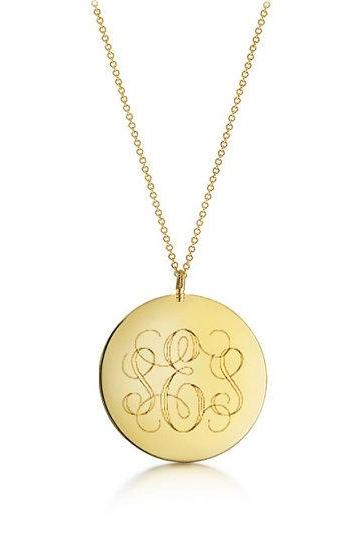 Monogram Engraved Necklace - Custom Engraved Gold Pendant - Monogram Engraving Pendant