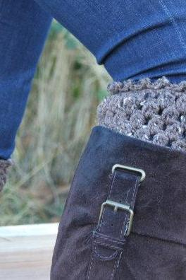 Crochet Boot Cuffs Leg Warmers Boot Socks Taupe