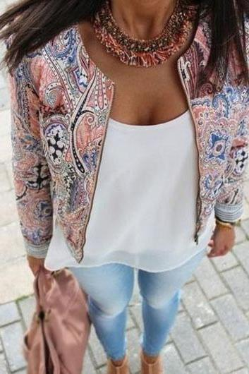 Vintage Long Sleeve Zipper Closure Printed Jacket