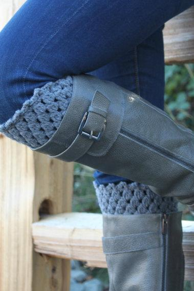 Crochet Boot Cuffs Leg Warmers Boot Socks Gray