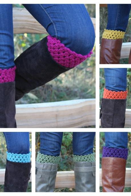 Crochet Boot Toppers Boot Cuffs Leg Warmers - Pick Your Color