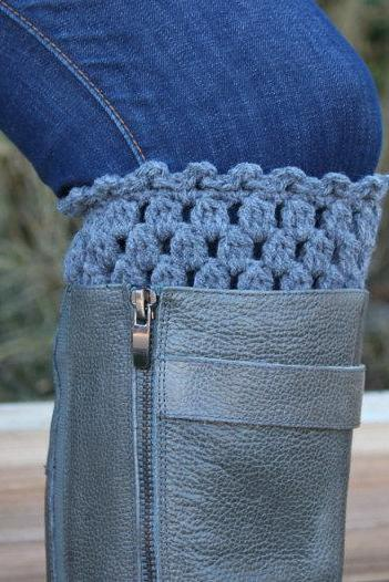 Crochet Boot Cuffs Leg Warmers Boot Socks Grey or Silver