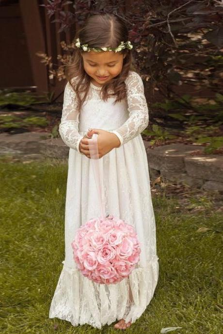 Lovely Scoop Neckline Long Sleeves Flower Girls' Dresses Lace with Bow Floor Length A-line Zipper Wedding Baby Dress 2015 Hot