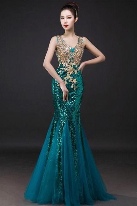 Peacock Green Fashion Evening Dresses New mermaid V-neck Embroidery Beaded Floor Length Prom Dresses Formal Party Dresses