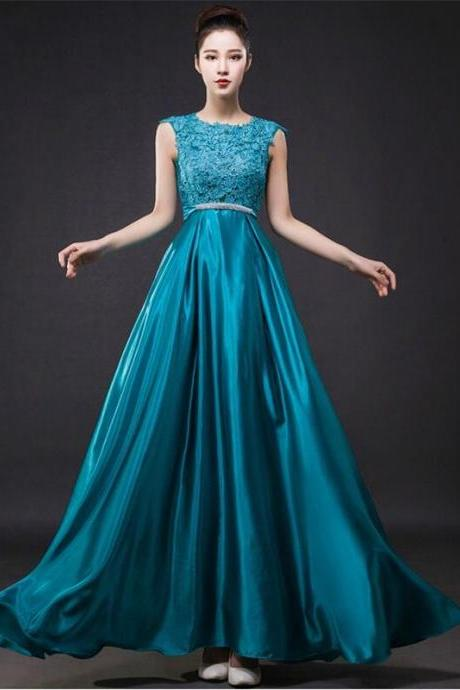 Fashion Blue Lace Taffeta evening Party Gowns 2015 A-line Backless Beaded Floor Length Prom Dresses
