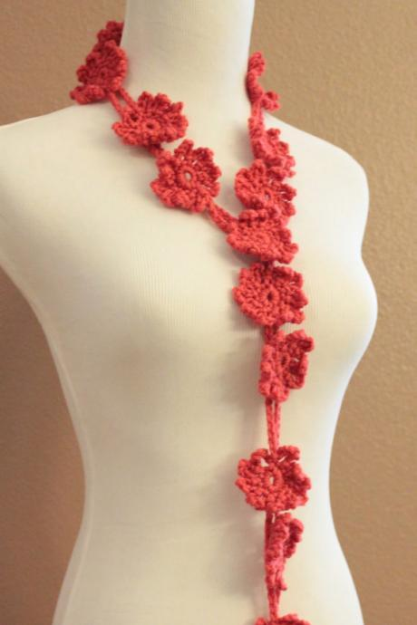 Crochet Flower Scarf Lariat Spring Fashion Coral
