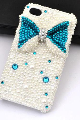 Blue Bowknot bling iPhone 7 Plus, iPhone 6 6s case, iPhone 6 6s Plus case, iPhone 5s SE case, iPhone 5c case, bling wallet case for samsung galaxy note 4 note 5 s7 edge s6 edge s5