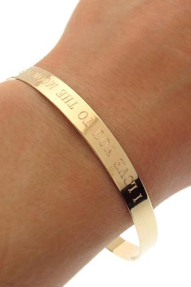 Inspirational Gold Cuff Bracelet - Quote Cuff - Custom Bangle Cuff Bracelet - Personalized Bangle - Gold Bracelet
