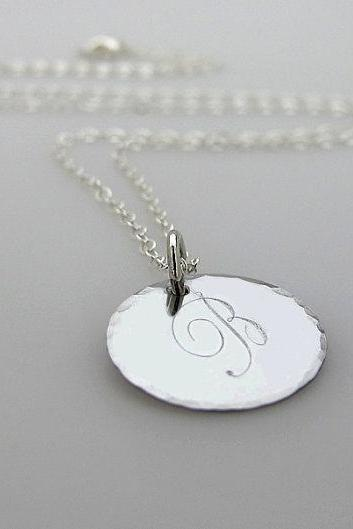 Perosnalized Necklace - Initial Engraved Pendant - Minimalist Necklace - Silver Charm Necklace - Romantic Letter Pendant
