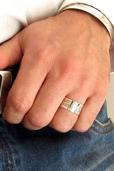 Men's Ring - Perosnalized Band for Men - Engraved Ring - Wide Band for Him - Men's Jewelry - Gift for Men