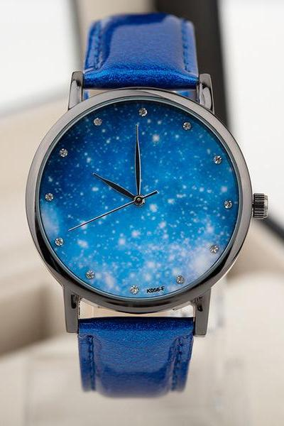 Galaxy watch, galaxy leather watch, blue leather watch, leather watch, bracelet watch, vintage watch, retro watch, woman watch, lady watch, girl watch, unisex watch, AP00421