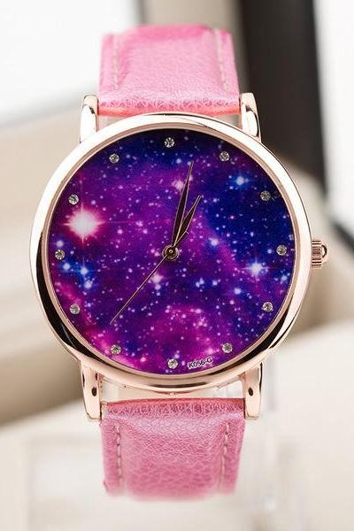 Galaxy watch, galaxy leather watch, pink leather watch, leather watch, bracelet watch, vintage watch, retro watch, woman watch, lady watch, girl watch, unisex watch, AP00424