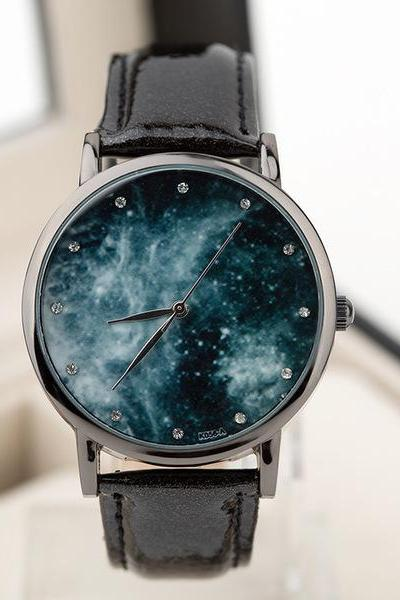 Galaxy watch, galaxy leather watch, black leather watch, leather watch, bracelet watch, vintage watch, retro watch, woman watch, lady watch, girl watch, unisex watch, AP00426