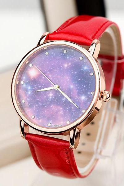 Galaxy watch, galaxy leather watch, red leather watch, leather watch, bracelet watch, vintage watch, retro watch, woman watch, lady watch, girl watch, unisex watch, AP00428