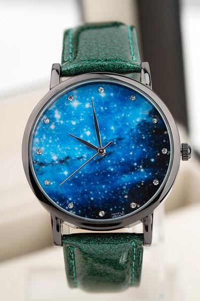 Galaxy watch, galaxy leather watch, green leather watch, leather watch, bracelet watch, vintage watch, retro watch, woman watch, lady watch, girl watch, unisex watch, AP00429
