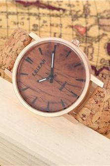 Wood pattern leather watch, Style wood pattern watch, leather watch, bracelet watch, vintage watch, retro watch, woman watch, lady watch, girl watch, unisex watch, AP00437