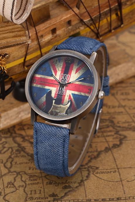 God Save Queen UK Flag Quartz Watch, Guitar leather watch, blue leather watch, leather watch, bracelet watch, vintage watch, retro watch, woman watch, lady watch, girl watch, unisex watch, AP00439