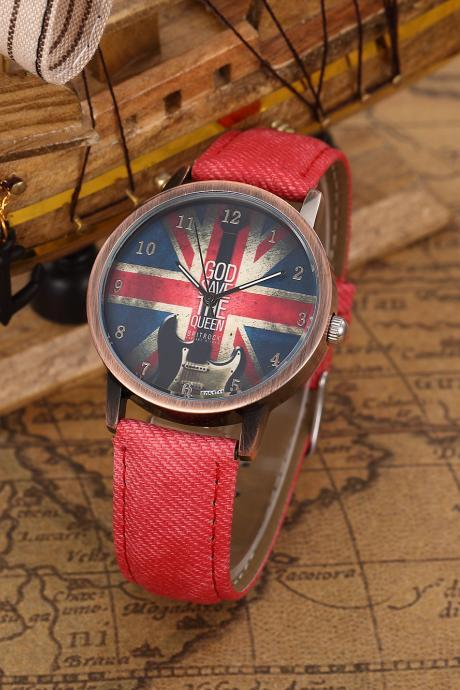 God Save Queen UK Flag Quartz Watch, Guitar leather watch, red leather watch, leather watch, bracelet watch, vintage watch, retro watch, woman watch, lady watch, girl watch, unisex watch, AP00442