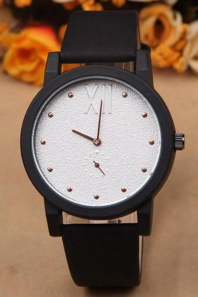 Sand pattern watch face leather watch, black leather watch, leather watch, bracelet watch, vintage watch, retro watch, woman watch, lady watch, girl watch, unisex watch, AP00446
