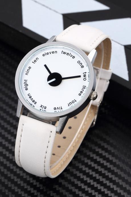 Black White Style watch face leather watch, white leather watch, leather watch, bracelet watch, vintage watch, retro watch, woman watch, lady watch, girl watch, unisex watch, AP00450