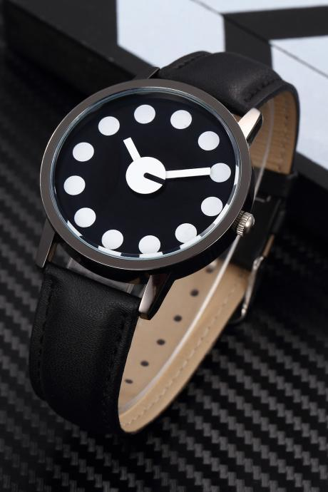 Black White Style watch face leather watch, black leather watch, leather watch, bracelet watch, vintage watch, retro watch, woman watch, lady watch, girl watch, unisex watch, AP00453